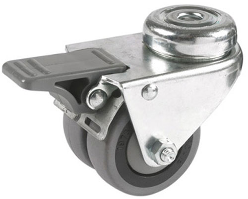 Double swivel castors, bolt hole, with total brake, rubber wheel + ball bearing