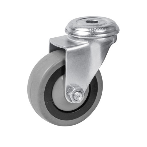 Equipment swivel castors, bolt hole, with rubber wheels and ball bearing