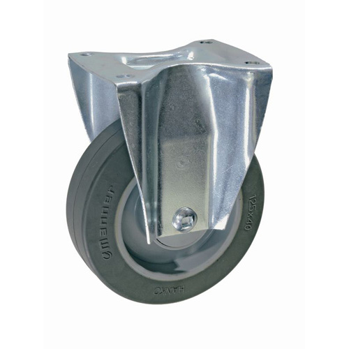 Laboratory fixed castors with highly elastic, solid rubber wheels + ball bearing
