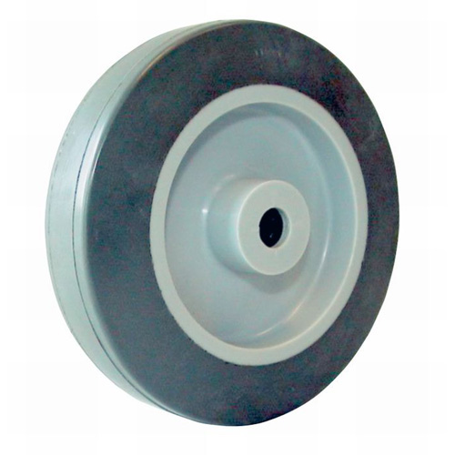 Highly elastic, grey solid rubber wheels with ball bearing - Ø 100 -200 mm