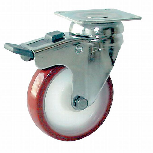 INOX Swivel castors with total brake, with polyurethane wheels and plain bear.