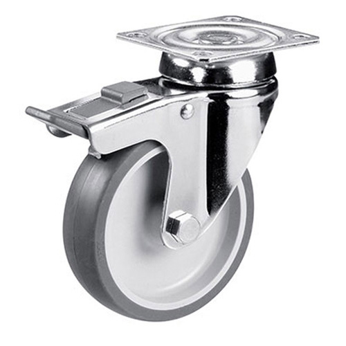 Swivel castors with total brake, thermoplastic elastomer wheels +plain bearing
