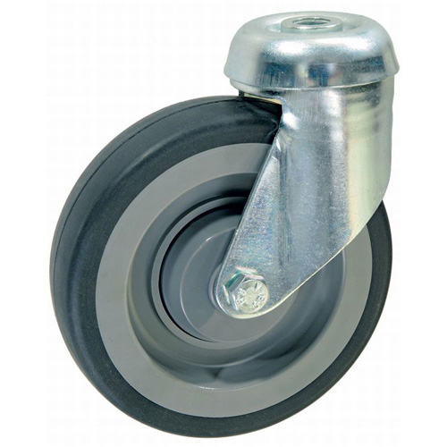 Shopping cart swivel castors, bolt hole, with rubber wheel and ball bearing