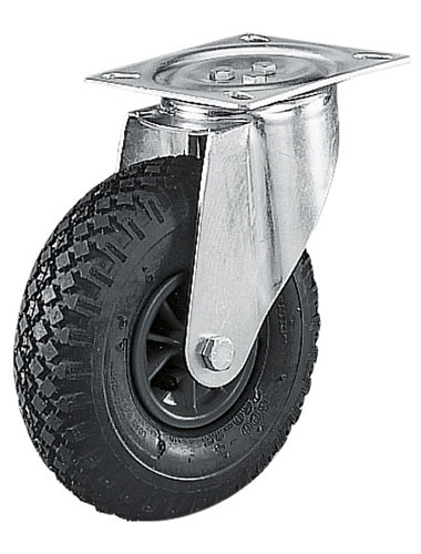 Swivel castors with pneumatic wheels, synthetic rim and roller bearing