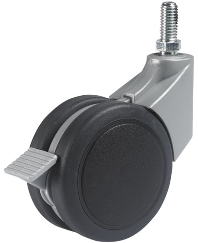 Design swivel castor with threaded pin, SOFT tread and single action brake