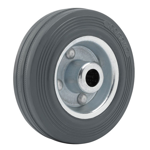 Grey solid rubber wheel with sheet steel rim and roller bearing - SALES