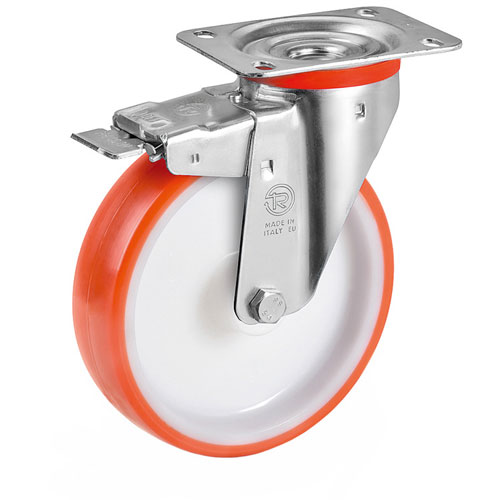 Swivel castors with total brake, with polyurethane wheels and roller bearing