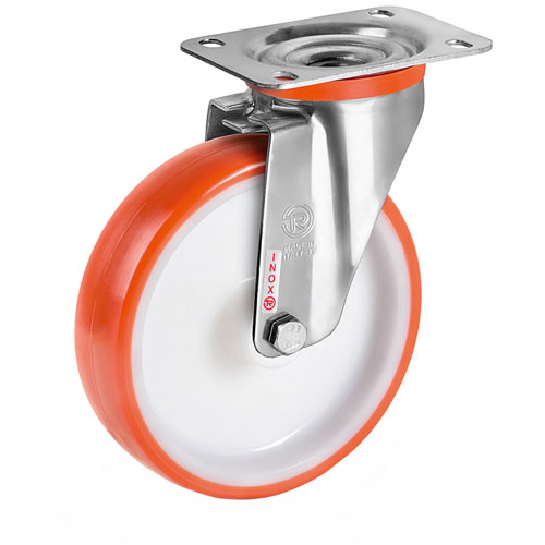INOX Swivel castors with polyurethane wheels and stainless steel roller bearing