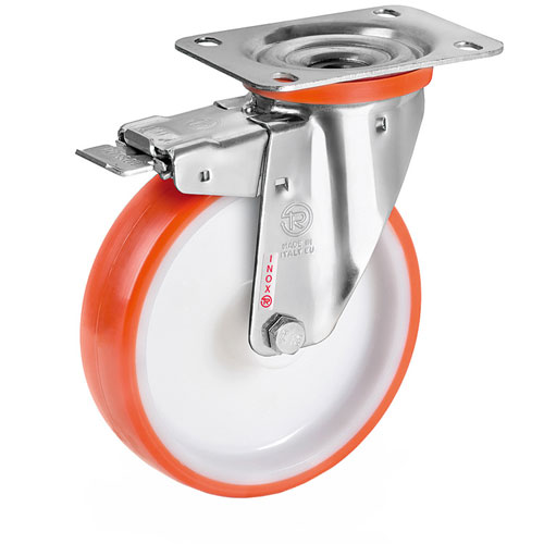 INOX Swivel castors with total brake,polyurethane wheels  + S/S roller bearing