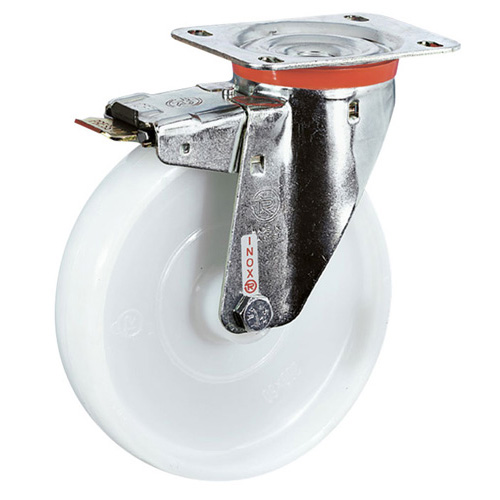 INOX Swivel castors with total brake, with polyamide wheels +S/S roller bearing