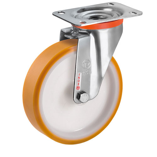 INOX Swivel castors, bolt hole, with polyamide wheels and S/S roller bearing