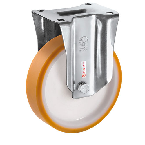 INOX Fixed castors with cast-polyurethane wheels +stainless steel roller bearing