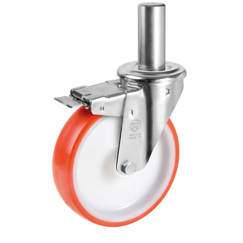 Swivel castors with solid stem, total brake, polyurethane wheels+roller bearing
