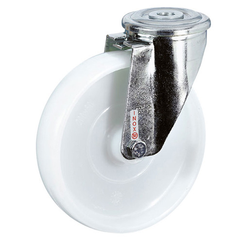 INOX Swivel castors, bolt hole, with polyamide wheels and roller bearing