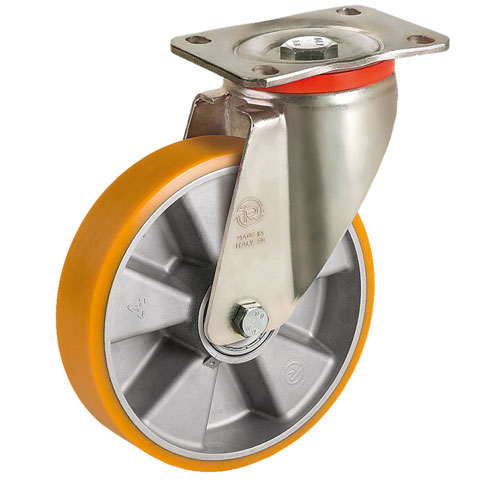 Heavy duty Swivel castors with polyurethane wheels, aluminium rim and BB
