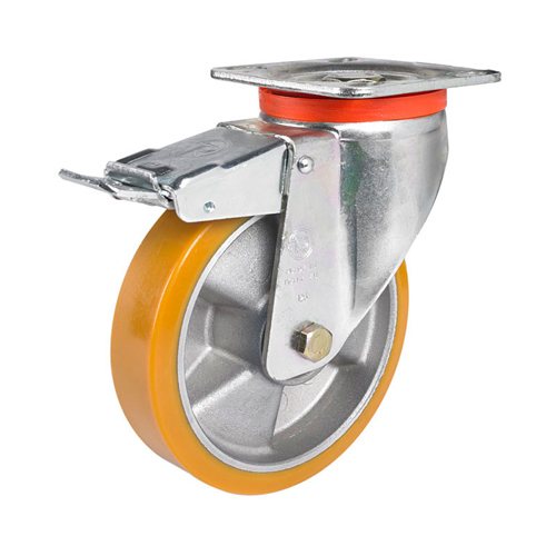 Heavy duty Swivel castor with DIRECTIONAL lock with polaurethane wheels