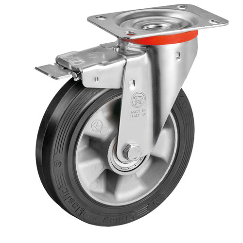 Heavy Duty Swivel castors with DIRECTIONAL lock, with elastic solid rubber wheel