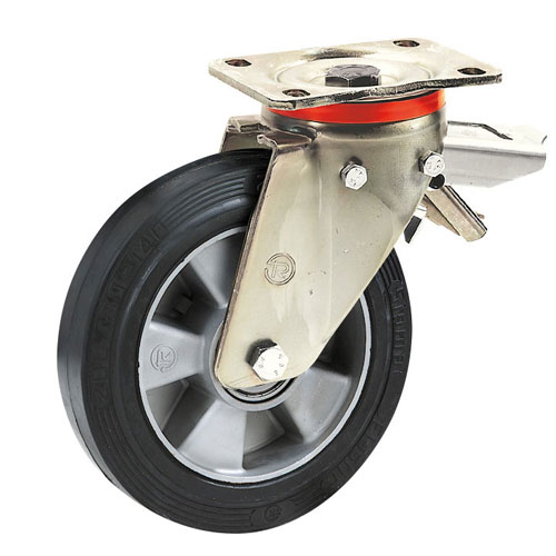 Heavy duty Swivel castors with total brake,elastic rubber wheels, alu. rim +BB