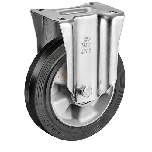 Heavy duty Fixed castors with elastic rubber wheels, aluminium rim + Ball bear