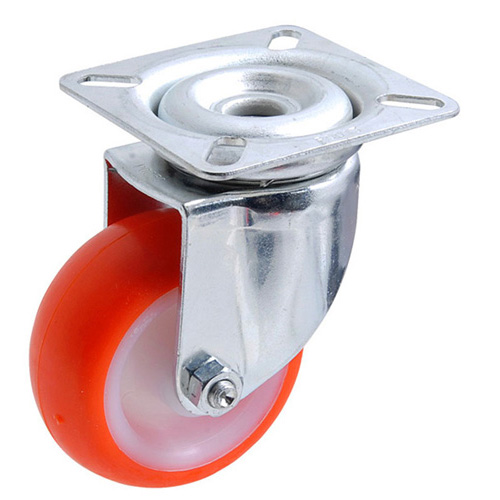 Swivel castors with polyurethane wheels and plain bearing