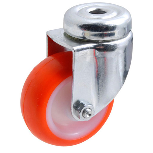 Swivel castors, bolt hole, with polyurethane wheels and plain bearing