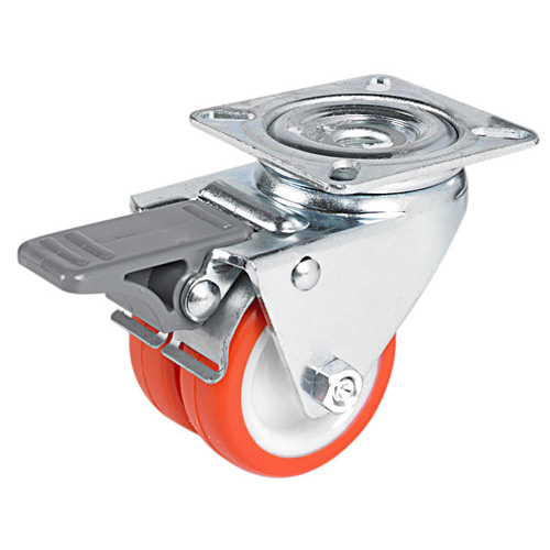 Double swivel castors with total brake, with polyurethane wheel +plain bearing