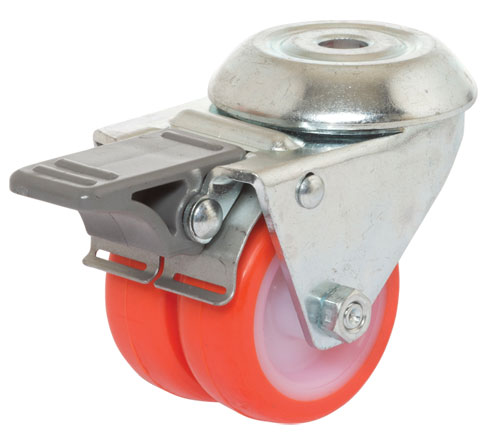 Double swivel castors,bolt hole,total brake,polyurethane wheel + plain bearing