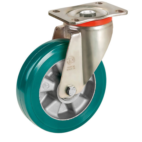 Swivel castors with SUPERSOFT-polyurethane wheels and ball bearing