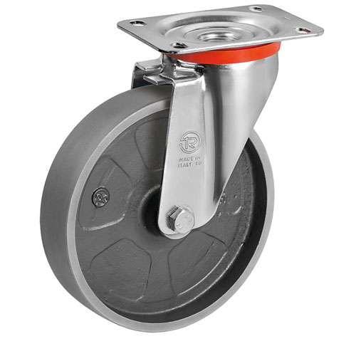 Swivel castors with cast iron solid wheels with plain bearing
