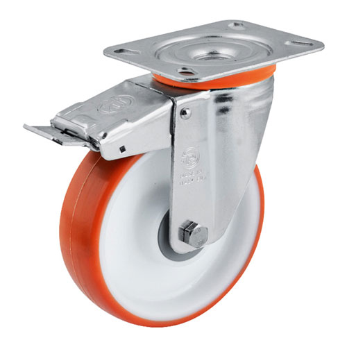 Easy-Roll Swivel castors with DIRECTIONAL lock, with polyurehtane wheels