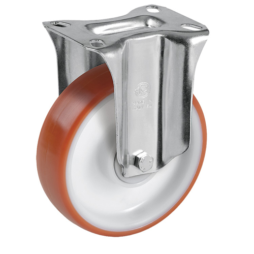 Easy-Roll Fixed castors with polyurethane wheels and ball bearing