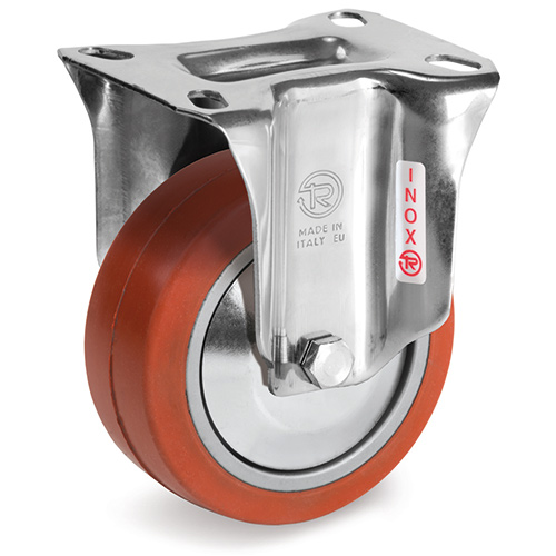 INOX Fixed castors HEAT-Resistant silicone rubber wheels, ball bearing 250°C