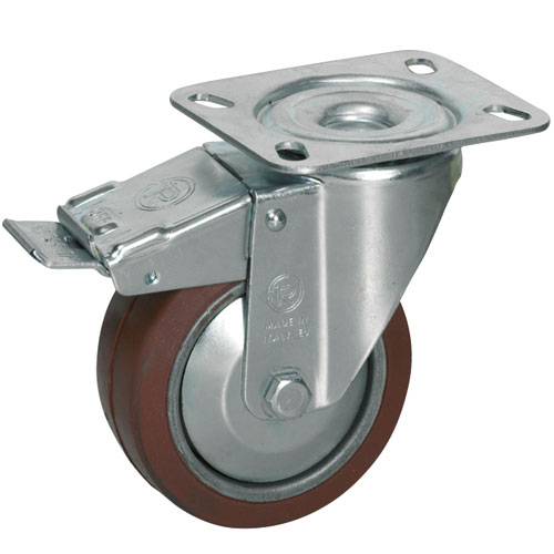Swivel castors, total brake, HEAT-Resistant silicone wheels, ball bearing 250°C