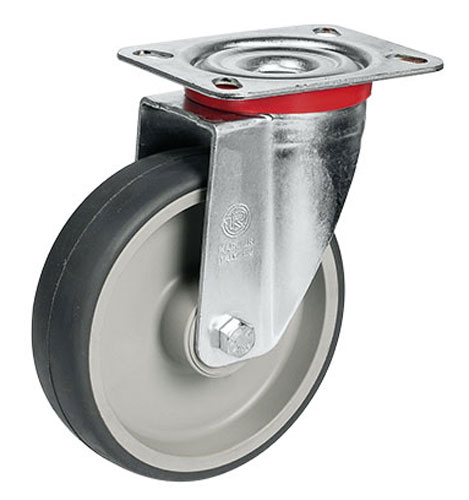 Swivel castors with thermoplastic elastomer wheels and roller bearing