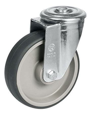 Swivel castors, bolt hole, with thermoplastic elastomer wheels + roller bearing