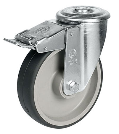 Swivel castors, bolt hole, with total brake, with TPE wheels and roller bearing