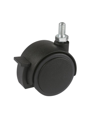 Furniture swivel castor with threaded pin and brake, SOFT or HARD tread