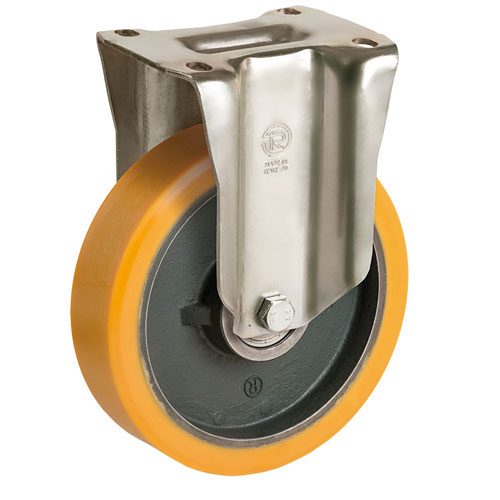 Heavy duty Fixed castors with cast polyurethane wheels, cast iron rim and BB