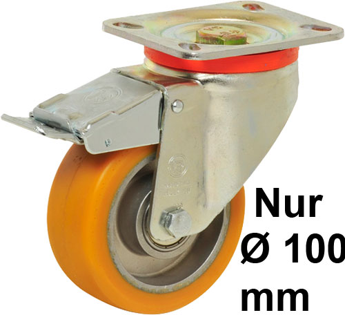 Big Yellow Swivel castors with total brake, with polyurethane wheels and BB