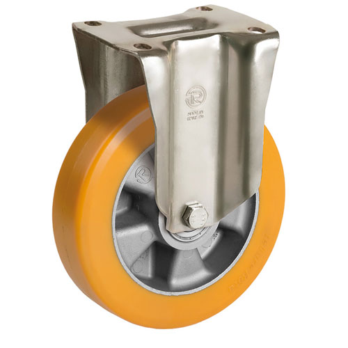 Big Yellow Fixed castors with polyurethane wheels and shielded ball bearing