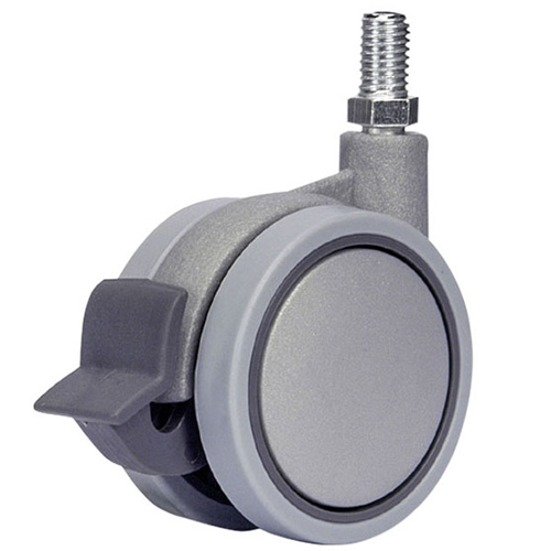 SWIFT swivel castors with single action brake, threaded stem and plain bearing