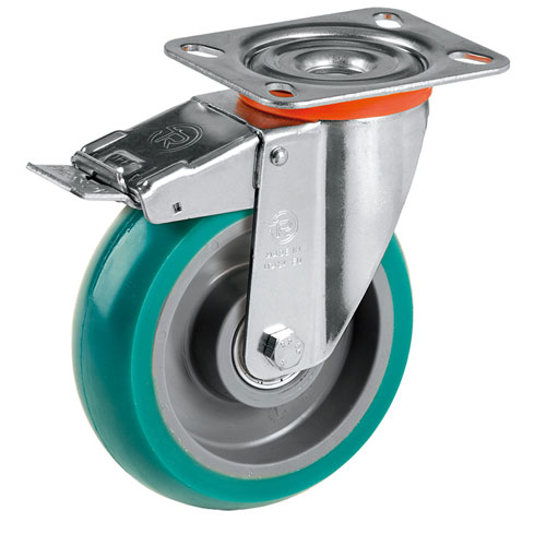 ERGO Sviwel castors with DIRECTIONAL lock, with supersoft polyurethane wheels