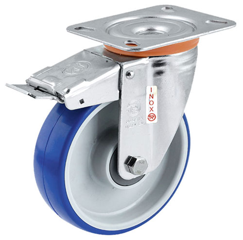 INOX Soft-Blue Swivel castors with total brake, polyurethane wheels +S/S BB