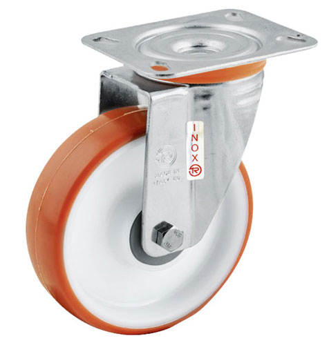 INOX Easy-Roll Swivel castors with polyurethane wheels and S/S ball bearing