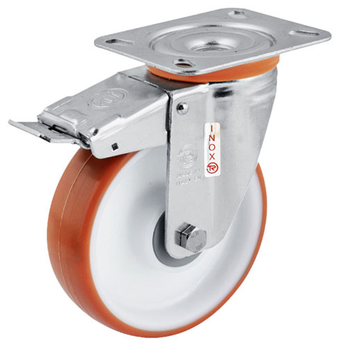 INOX Easy-Roll Swivel castors with total brake,polyurethane wheels +S/S BB