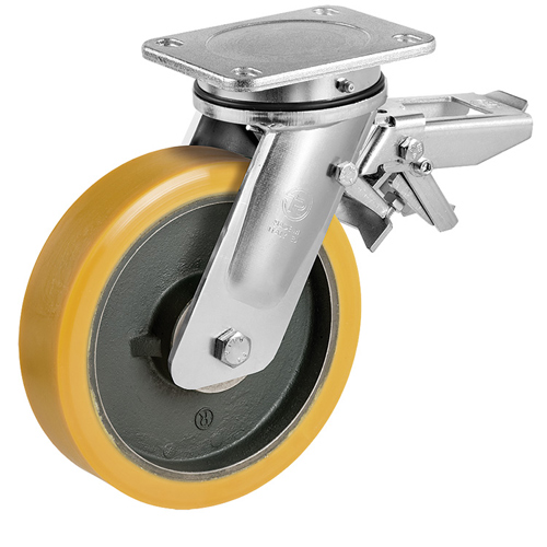 PREMIUM S / M swivel castors with total brake, polyurethane wheel + ball bearing