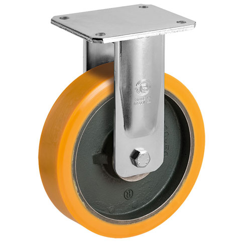 PREMIUM S / M fixed castors with polyurethane wheel and ball bearing