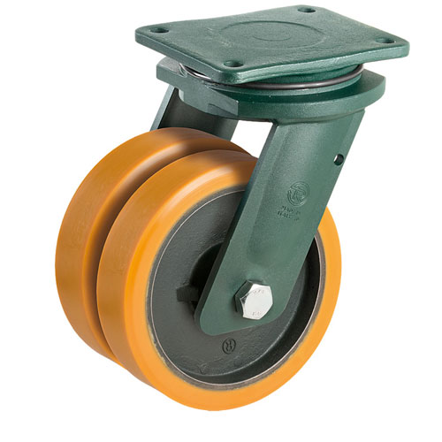 PREMIUM XXL swivel castors with polyurethane TWIN-wheel and ball bearing