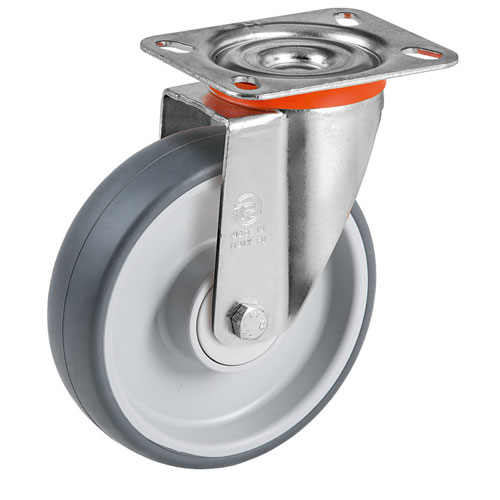 Easy-Roll grey swivel castors with TPE rubber and ball bearing