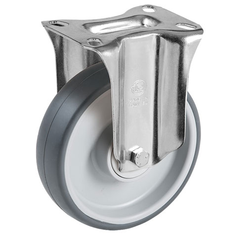 Easy-Roll grey fixed castors with TPE rubber and ball bearing
